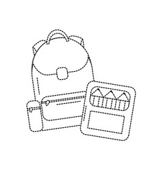 Backpack with school supplies icon image vector