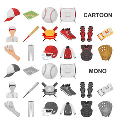 baseball and attributes cartoon icons in set vector image