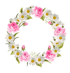 beautiful floral wreath with roses and daisies vector image