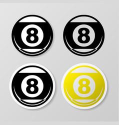 Billiards symbol stickers set vector