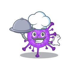 Bovine coronavirus as a chef with food on tray vector