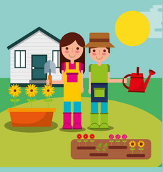 boy and girl gardeners vector image