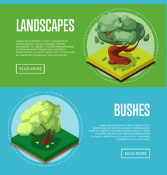 Bushes and trees for park design posters vector