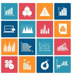 Business chart icons set white vector image