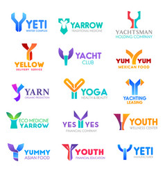 business icons letter y corporate identity vector image