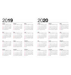 calendar for 2017 and 2018 vector image