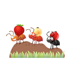 Cartoon colony ants carrying berries vector