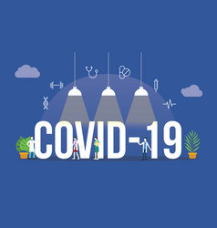covid19-19 coronavirus concept with people and big vector image