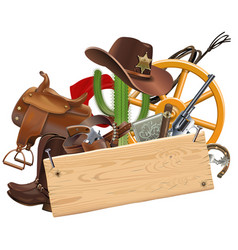 Cowboy concept with wooden plank vector