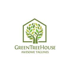 creative simple green house logo vector image