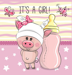 cute cartoon pig with feeding bottle vector image