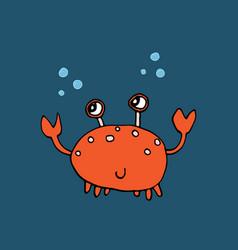 cute crab cartoon animal baby and children print vector image