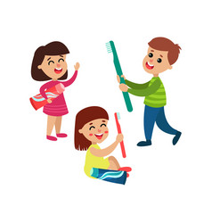 cute little boy and girls characters playing with vector image