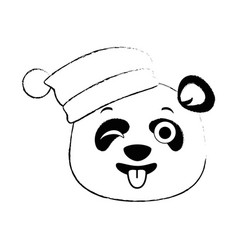 cute panda crazy emoji kawaii vector image