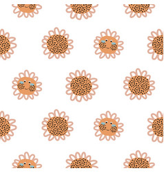 Cute sunflowers with faces pattern vector