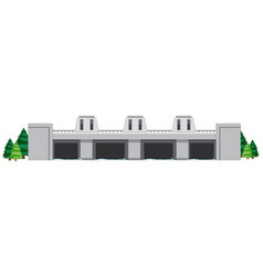 Dam building on white background vector