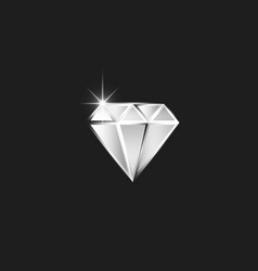 Diamond logo realistic cut diamond with spark as vector