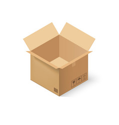 empty cardboard box opened isolated on vector image