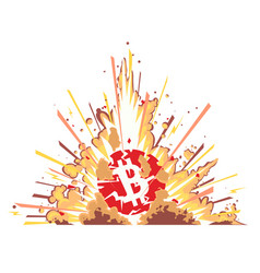 Exploding bitcoin on white vector
