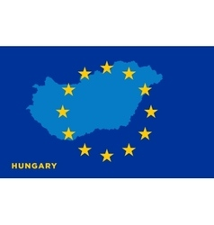 Flag of European Union with Hungary on background vector