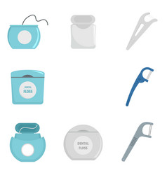 Floss dental brushing teeth icons set flat style vector