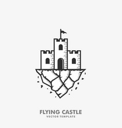 flying castle concept design template vector image