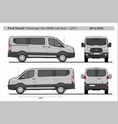 Ford transit passenger van swb l2h1 2014-2018 vector