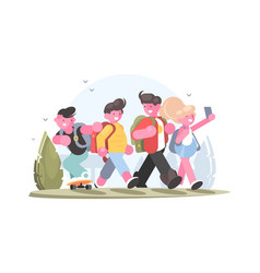 friendly group of schoolchildren vector image