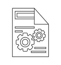 Gears on a paper icon outline style vector image