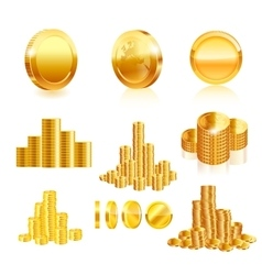 Gold coin set vector