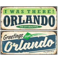 Greetings from orlando florida vintage signboard vector