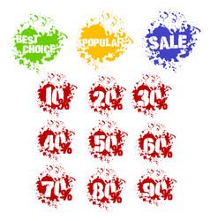 grunge set of dozen of sale stickers in splashes vector image