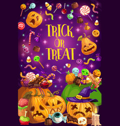 Halloween holiday trick or treat pumpkin vector