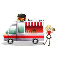 Hamburger truck and waitress vector image