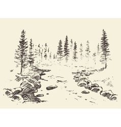 Hand drawn landscape river forest vintage vector image