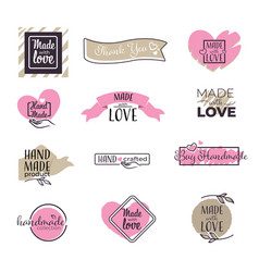 Handwritten inscription made with love on hearts vector