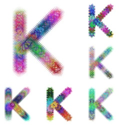 Happy colorful fractal font set - letter K vector image