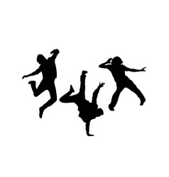 Happy modern dancing silhouettes vector