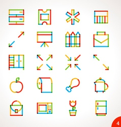 Highlighter Line Icons Set 4 vector image