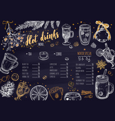 hot drinks winter menu vector image