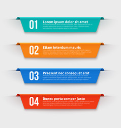 Infographic banners color labels with steps and vector