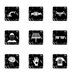 Innovative device icons set grunge style vector
