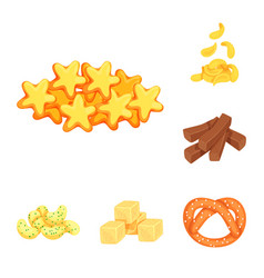 Isolated object of food and crunchy symbol set of vector