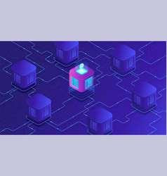 Isometric blockchain cryptocurrency and data vector
