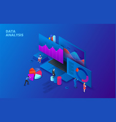 isometric data analysis vector image