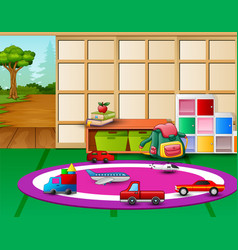 Kindergarten playroom interior with toys and open vector