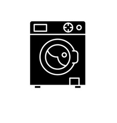 laundry machine black icon sign on vector image