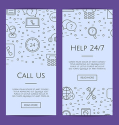 line call support center icons web banner vector image