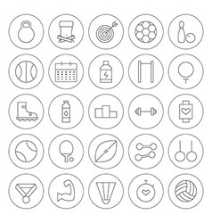 Line Circle Sport and Fitness Icons Set vector image