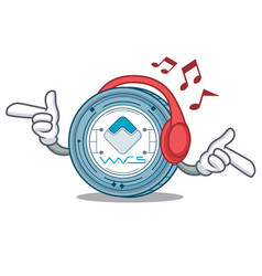 listening music waves coin mascot cartoon vector image